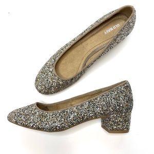 BNWOT Gold Silver Metallic Glitter Block Heels 9